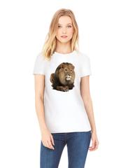 Футболка с принтом Лев (Lion) белая w009