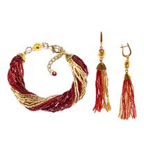 Комплект украшений из бисера золотисто-красный (серьги из бисера, бисерный браслет)