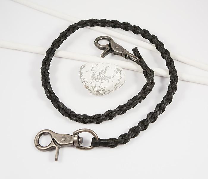 KR117-1 Оригинальный кожаный брелок шнур с карабинами (60 см)