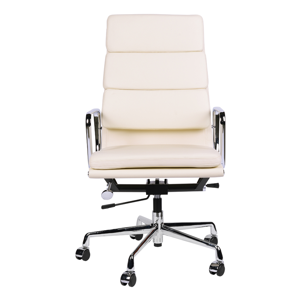 Кресло Eames Style HB Soft Pad Executive Chair EA 219 кремовая кожа - вид 4