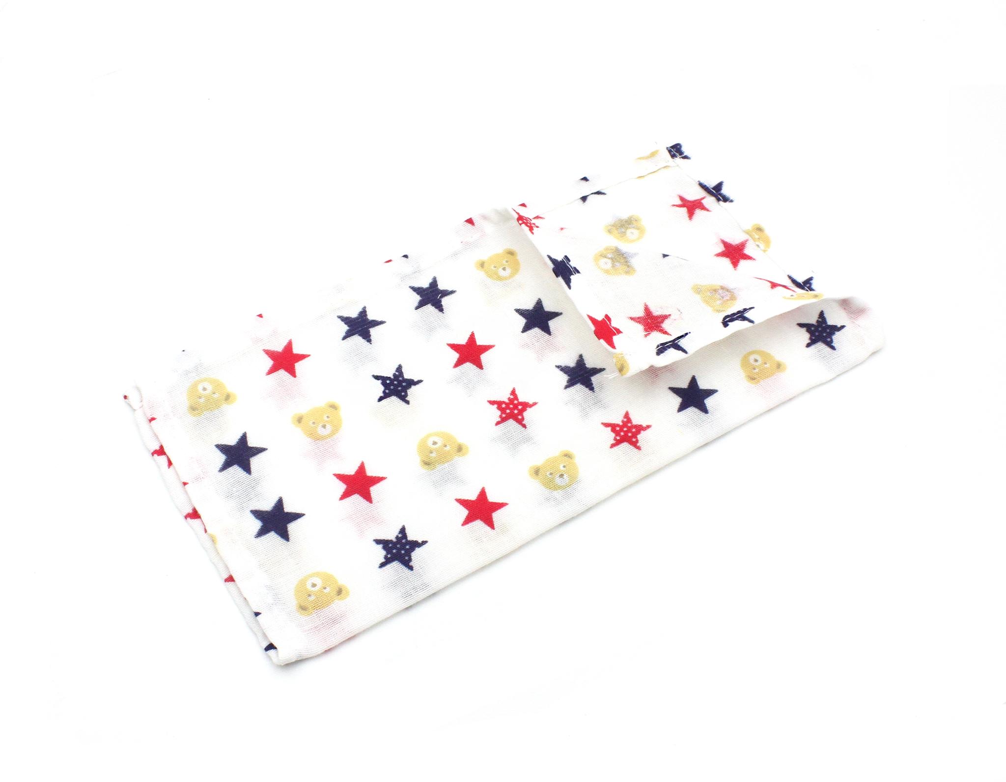 Муслиновая салфетка-разноцветные звезды,840(22х22см)