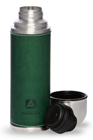 Уценка! Термос Арктика (1 литр) с узким горлом, зеленый, кожаная вставка