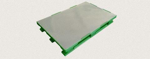 Поддон пластиковый сплошной 1200x800x160 мм с полозьями, усиленный металлическим профилем. Цвет: Зеленый