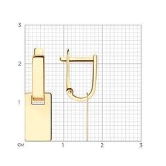 028875 - Серьги из золота с прямоугольными подвесками в минималистическом стиле