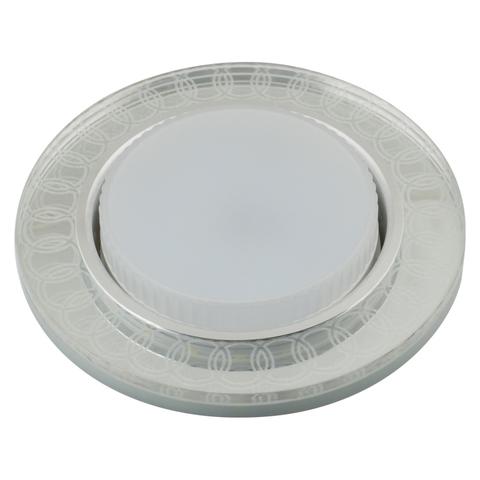 DLS-L157 GX53 GLASSY/CLEAR 3D Светильник декоративный встраиваемый, серия Luciole. Без лампы, цоколь GX53. Доп. светодиодная подсветка 4Вт. Металл/стекло. Зеркальный/Прозрачный, эффект 3D. ТМ Fametto