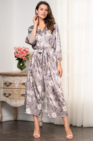 Длинный халат из натурального шелка Mia Amore Gracia