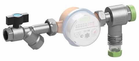 Кранофильтрогидромат с обратным клапаном для подключения счетчика 1/2 25 бар 400мкм 1-150   С*