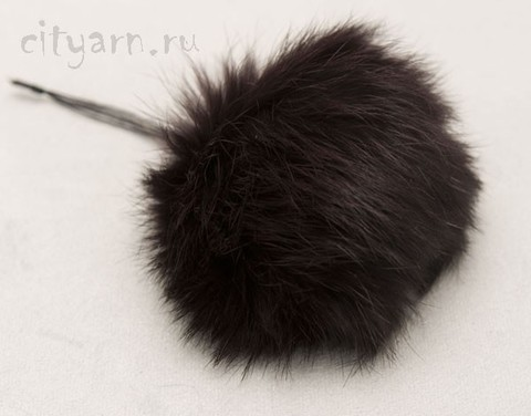 Помпон из меха кролика, тёмно-коричневый, диаметр 7 см