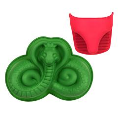 Набор из силикона 2 предмета (форма для выпечки «Змея», прихватка)