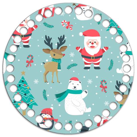 Круглое ламинированное деревянное дно Новогоднее N17 15см