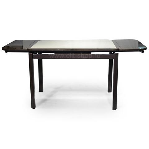 Стол РИАЛ КОЖА Е-24 бежевый / стекло коричневое / подстолье венге / опора №7 коричневая / 110(170)х74см