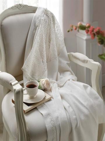Махровый халат LINDA S кремовый
