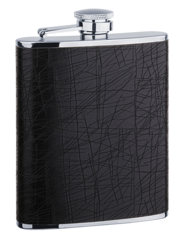 Фляга S.Quire (0,18 литра), сталь+искусственная кожа, черная