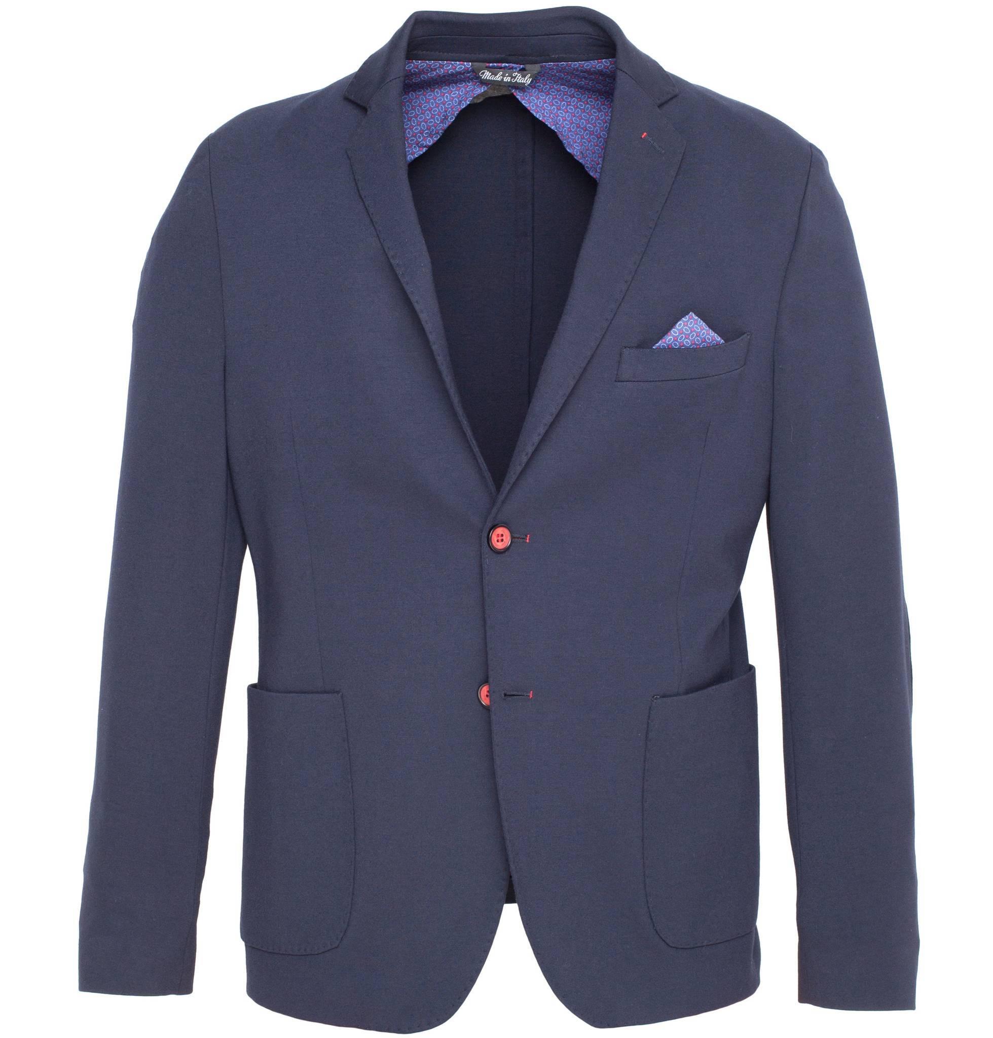 Тёмно-синий трикотажный пиджак из вискозы