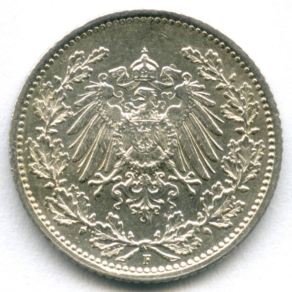 1/2 марки 1915 (F) Германия XF-AU