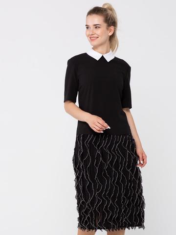 Фото черное платье прямого силуэта с оригинальной пышной юбкой - Платье З327-393 (1)
