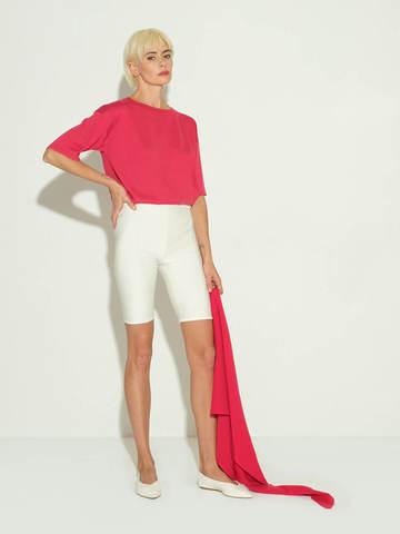 Женские шорты молочного цвета из 100% шелка - фото 2