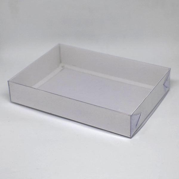 Коробка для мыла белая большая с прозрачной крышкой