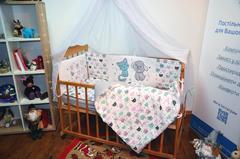 Комплект постельного белья для новорожденных с защитой-бортиками Леко Котики