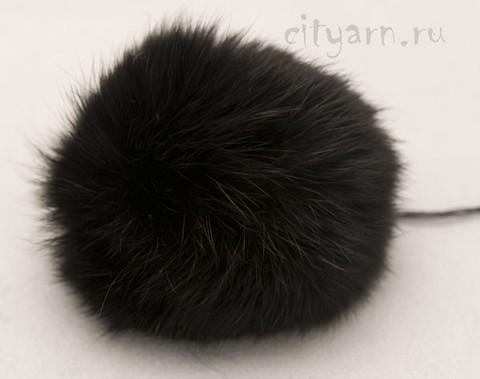 Помпон из меха кролика, чёрный, диаметр 8 см