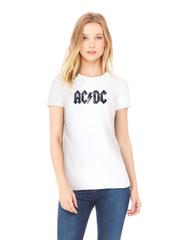 Футболка с принтом AC DC (Рок) белая w004