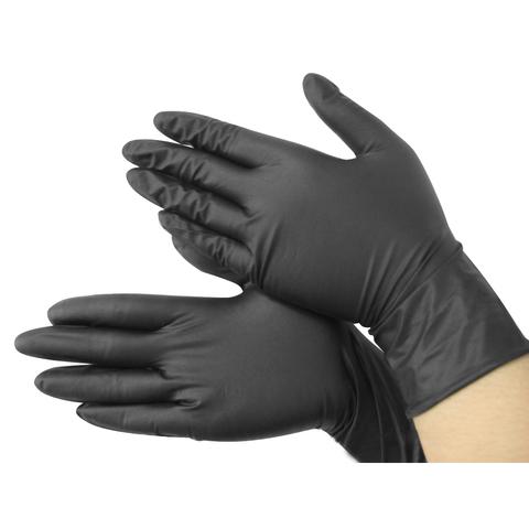 Перчатки нитриловые неопудренные 50 пар Черные (100 штук) (размерXL)