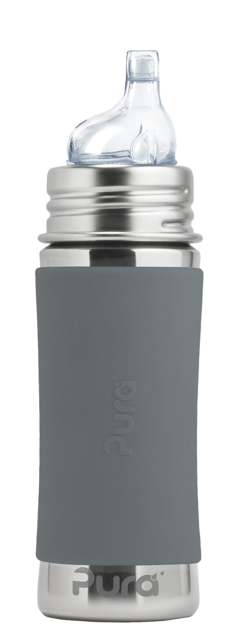 Детская стальная бутылочка-поильник Pura Kiki 325 мл (6 мес+) (серый)