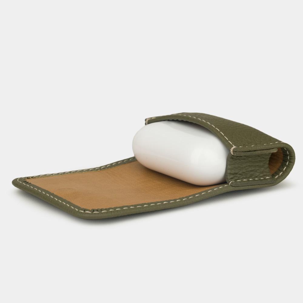 Чехол-держатель для наушников Grand Easy из натуральной кожи теленка, зеленого цвета