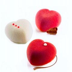 Силиконовая форма для выпечки Сердечки пирожные (белый силикон)