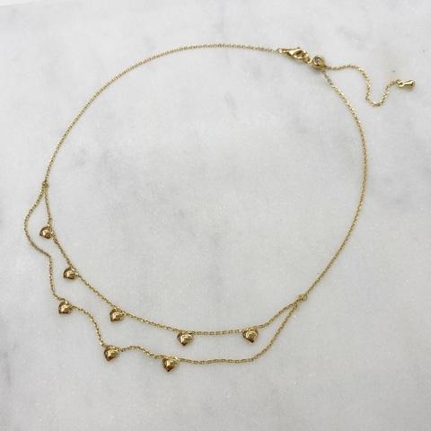 Чокер-цепочка двойная с подвесками-сердечками (золотистый)