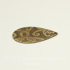 Винтажный декоративный элемент - подвеска 23х17 мм (оксид латуни)