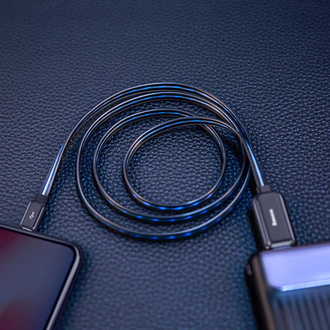 Кабель Baseus Glowing Data cable USB For Lightning Black