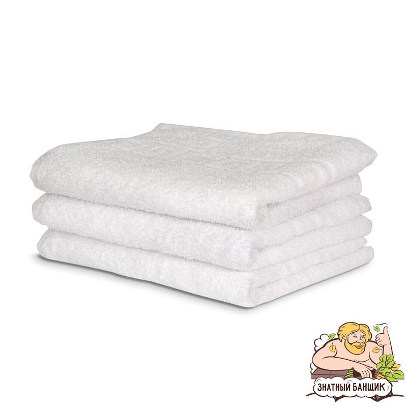 Белое махровое полотенце, плотность 600 гр/м.кв.