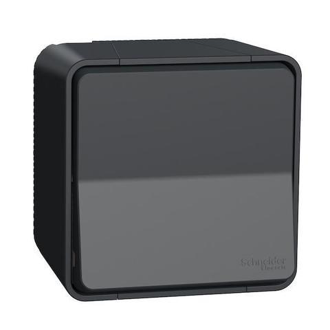 Выключатель/переключатель одноклавишный 2 полюсный в сборе. ЦветАнтрацит. Schneider Electric(Шнайдер электрик). Mureva styl(Мурева стайл). MUR35033
