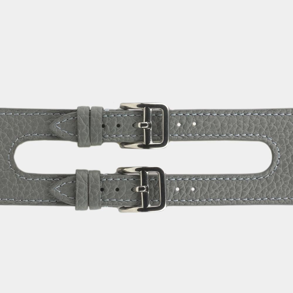 Ремешок для Apple Watch 42мм ST Double Buckle из натуральной кожи теленка, стального цвета