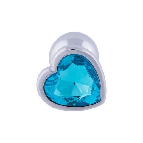 Анальная пробка сердце (голубой)