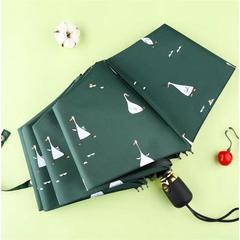 Женский облегченный зонт, с защитой от УФ, 8 спиц, принт- Утки (зеленый)