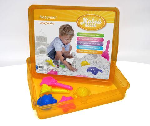 Контейнер с формочками - для игр и хранения песка. Цвет - голубой, оранжевый