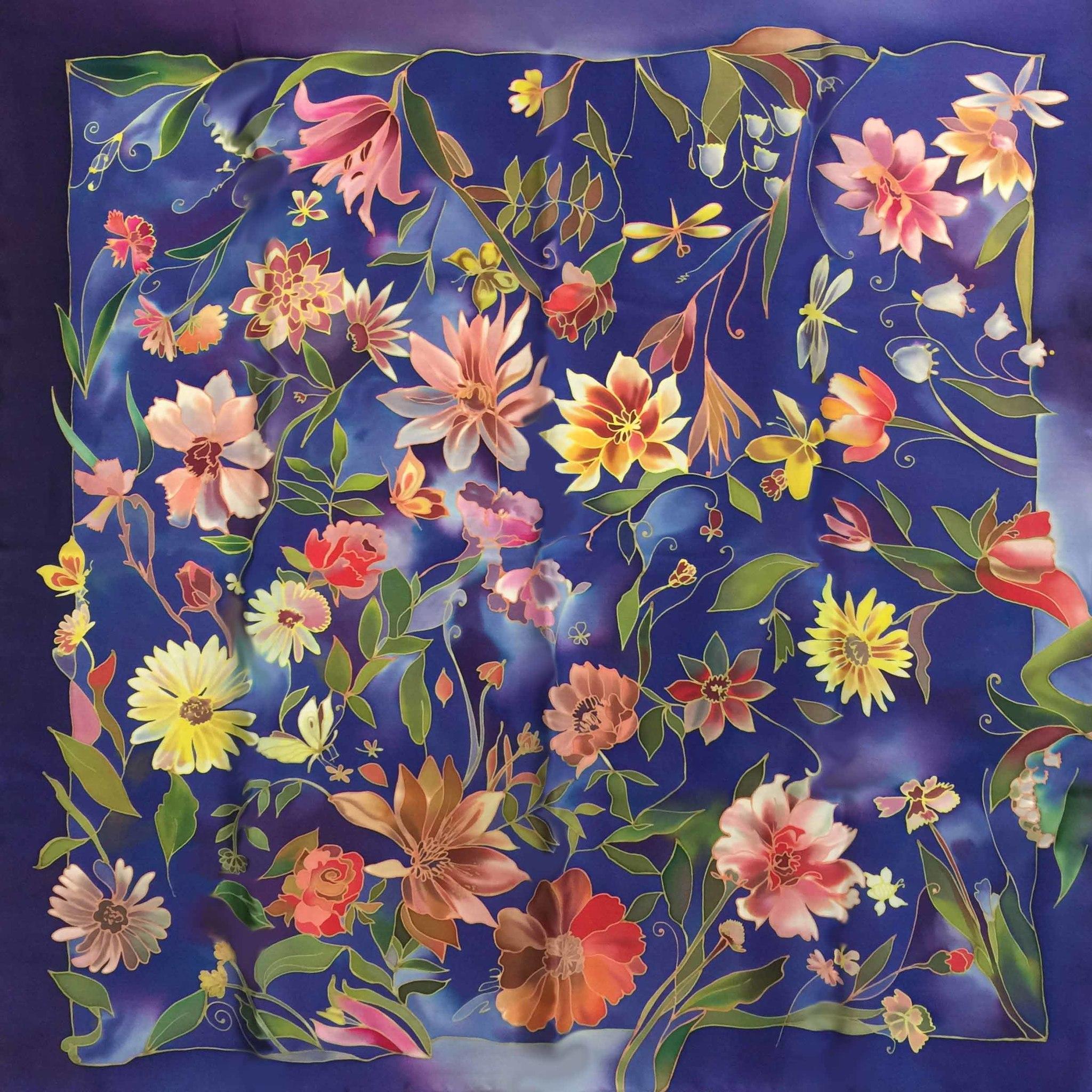 Платок батик Поляна в синеве С-61