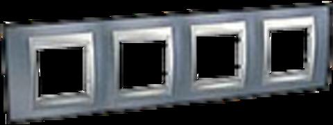 Рамка на 4 поста. Цвет Грэй-алюминий. Schneider electric Unica Top. MGU66.008.097