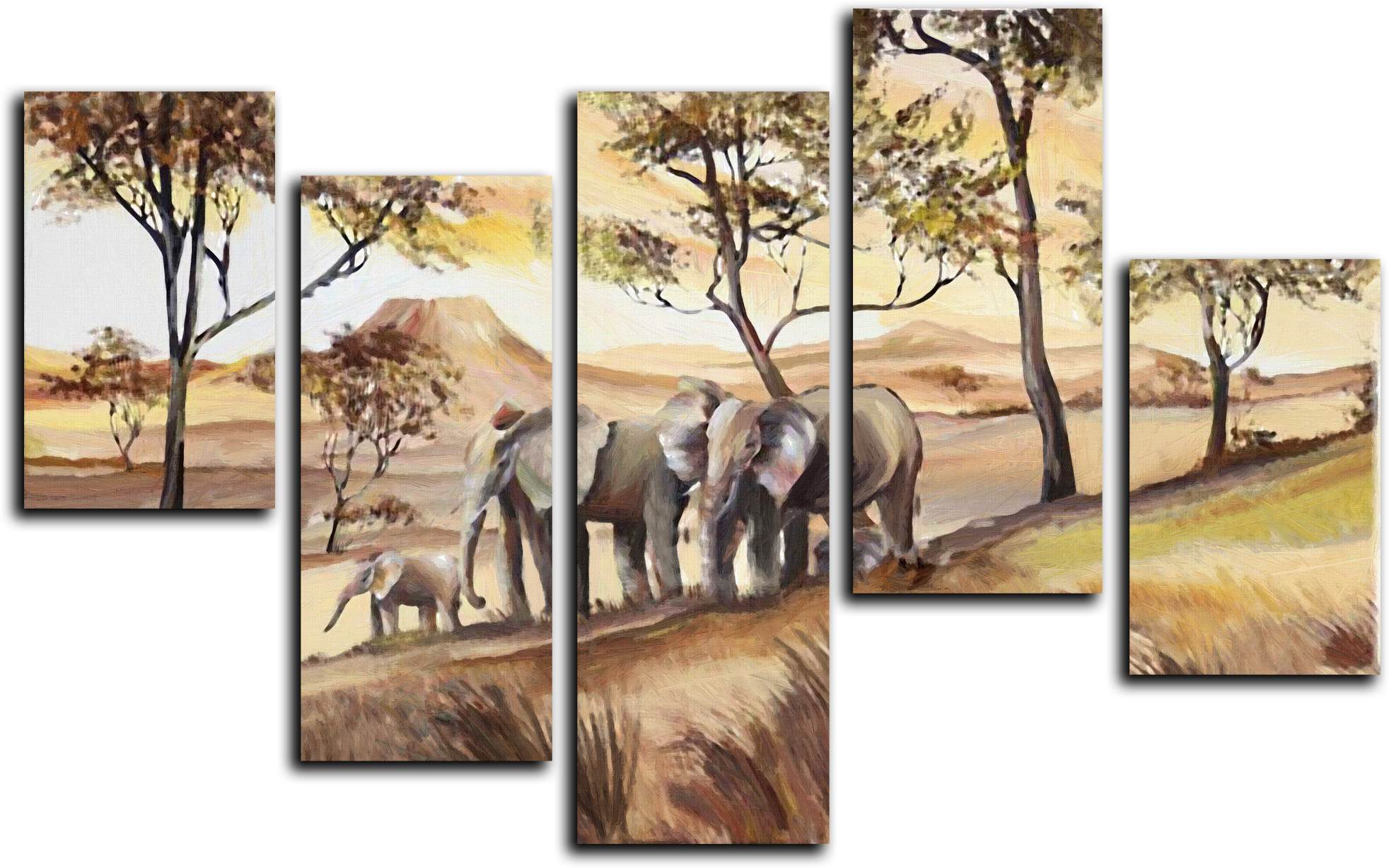 """Модульные картины Модульная картина """"Семья слонов"""" М29.png"""