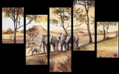 """Модульная картина """"Семья слонов"""""""