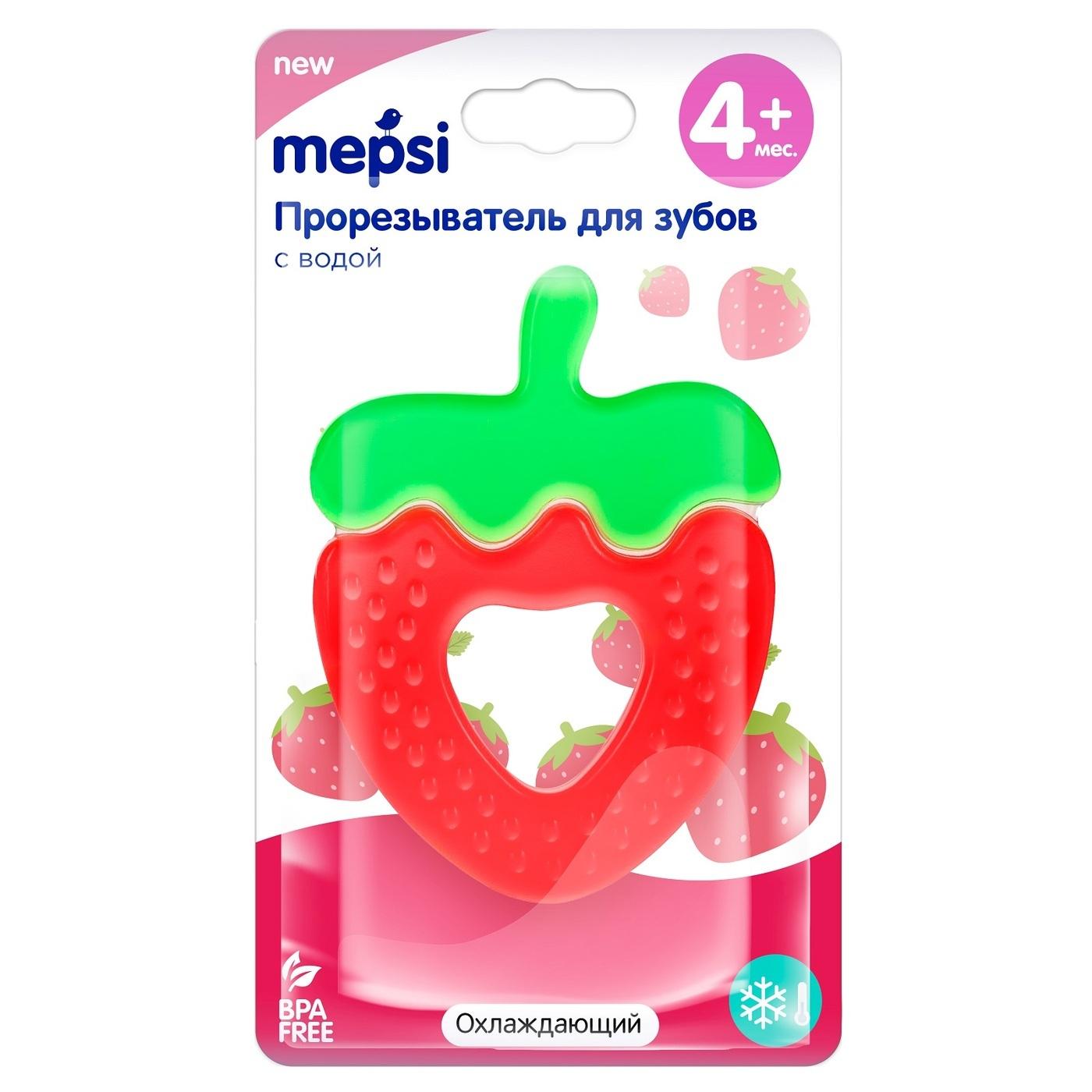 Mepsi - Прорезыватель с водой охлаждающий 4+ мес. (клубника)