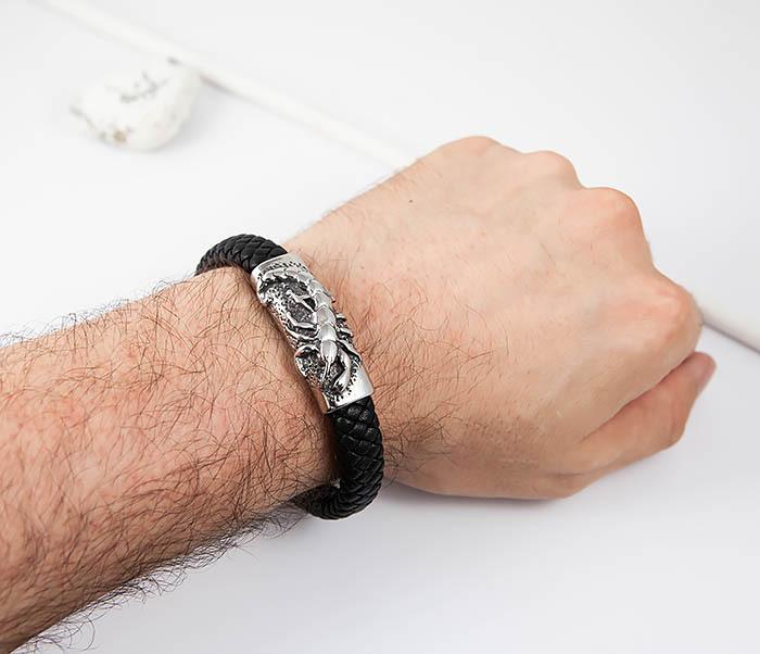BM512 Мужской браслет из кожи и стали со скорпионом (21 см) фото 06
