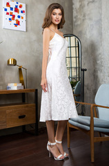 Шелковое платье белое Mia-Mia 15155