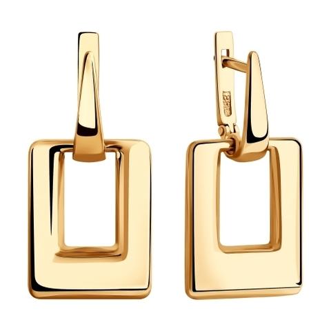 028392- Серьги из золота с квадратными подвесками