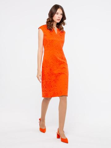 Фото оранжевое платье-футляр без рукавов и с v-образным вырезом - Платье З905-765 (1)