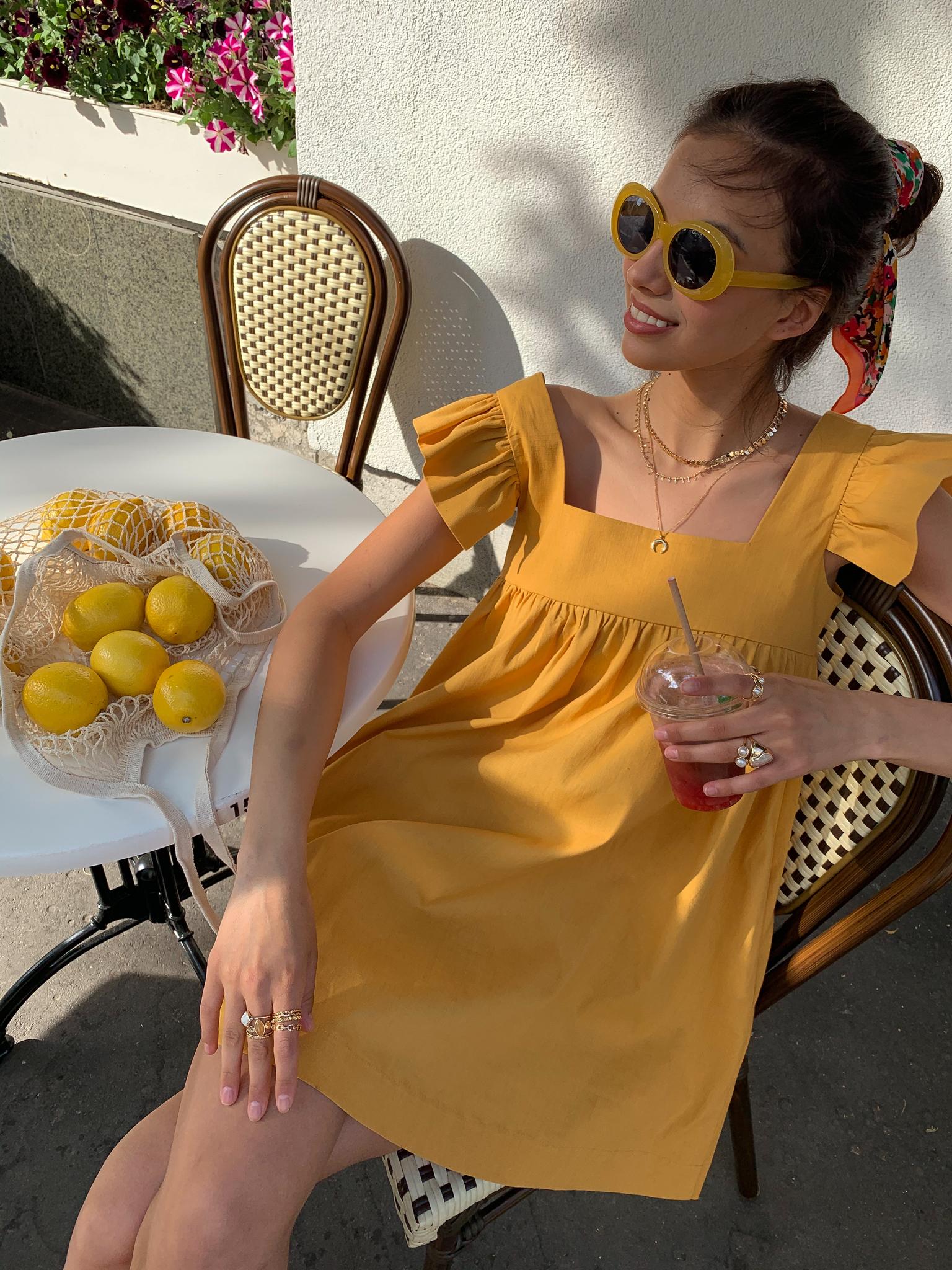 Платье льняное свободного кроя (желтый)