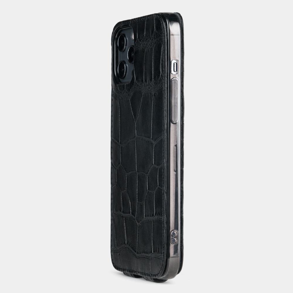Чехол для iPhone 12 Pro Max из натуральной кожи крокодила, черного цвета