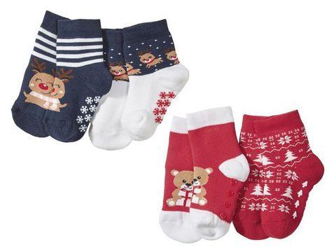 Носки детские с силиконовой подошвой 2 пары красные Lupilu